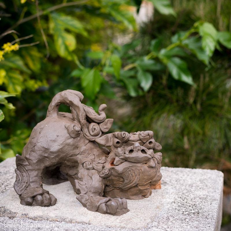 shisas lion dog statues yomitan pottery village okinawa japan