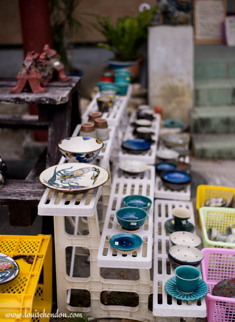 plates and cups yomitan pottery village okinawa japan