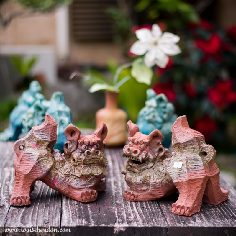 shisas lion dog statues yomitan pottery village okinawa japan