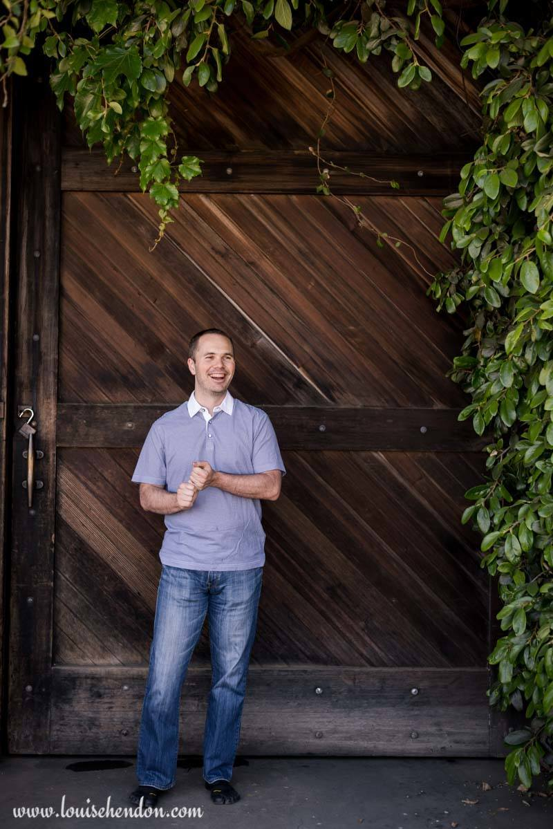 Jeremy Hendon Portrait photography at Smith Madrone Winery in Napa California - wooden barn door background