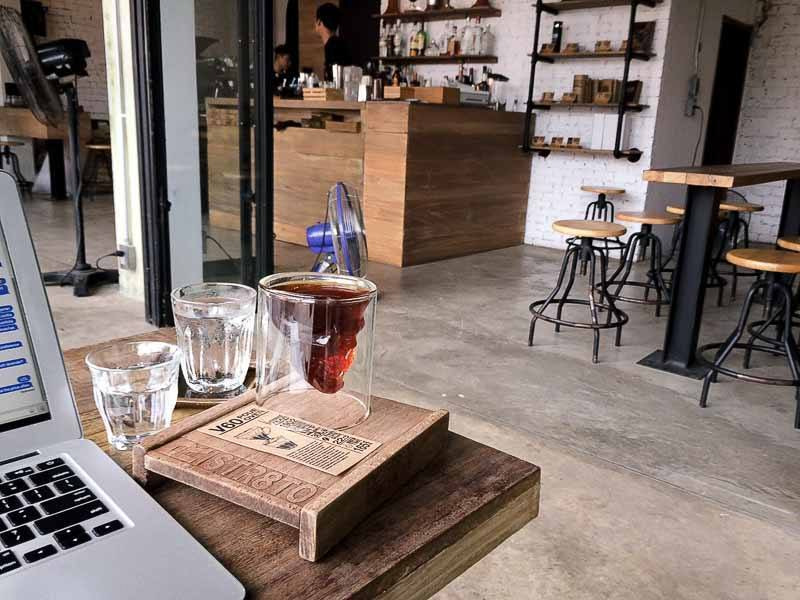 Pourover coffee at Ristr8to Labs Cafe, Chiang Mai, Thailand