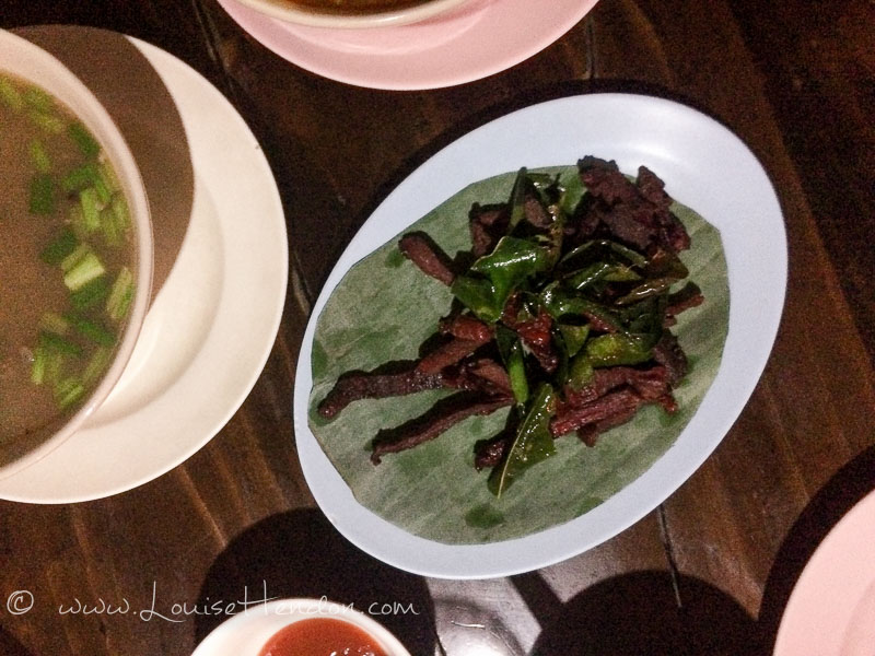 The pork jerky with deep fried lime kefir leaves at Chareon Suan Ake Restaurant in Chiang Mai, Thailand