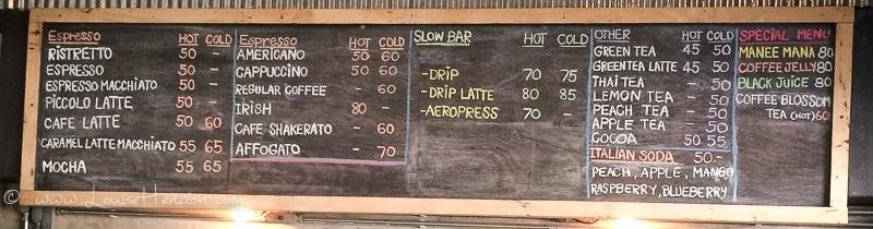 Menu at Akha Ama Coffee Cafe La Fattoria Review - Old Town Chiang Mai