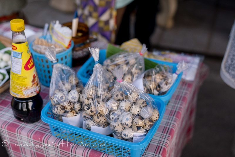 quail eggs at bo sang umbrella festival in Thailand - photography