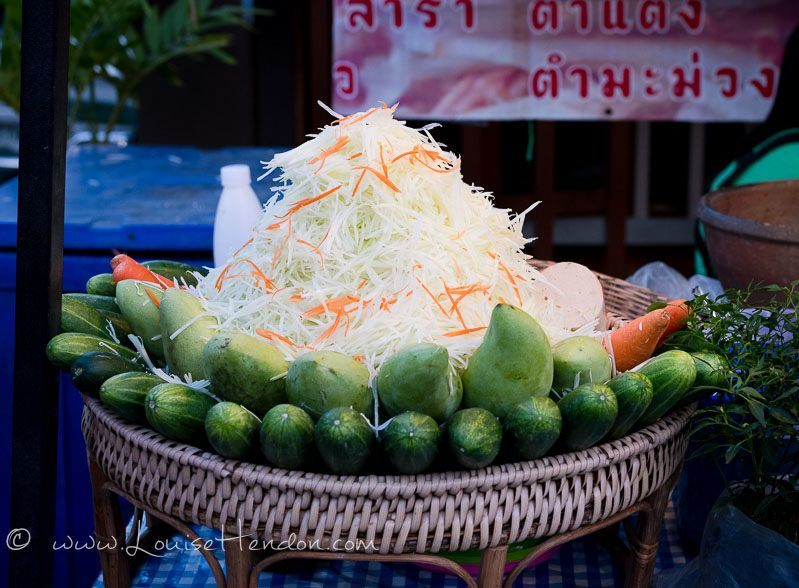 Papaya salad at bo sang umbrella festival in Thailand - photography