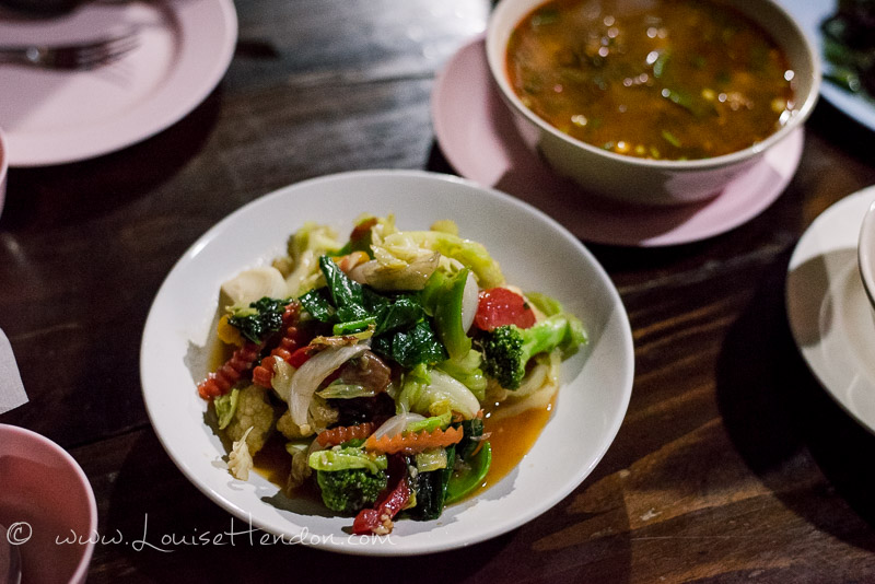 Stir-fried vegetables at Chareon Suan Ake Restaurant in Chiang Mai, Thailand