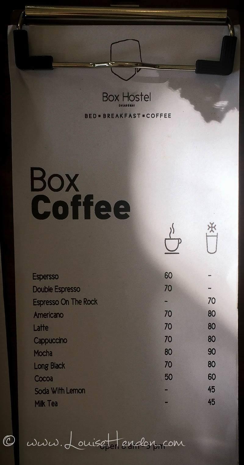 menu at box cafe and hostel in chiang mai thailand