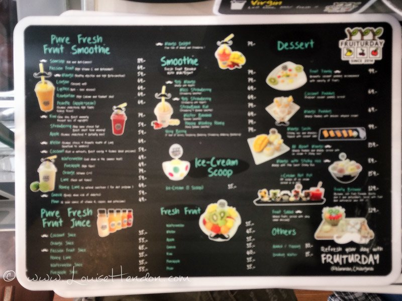 menu at fruiturday, chiang mai