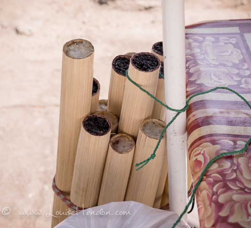 sticky rice in bamboo in myanmar