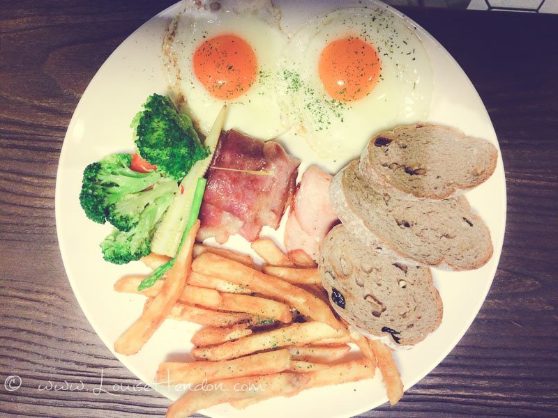 American Breakfast at check cafe entrance - zhongshan, taipei