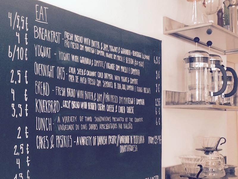 Lisbon Cafes - Copenhagen coffee lab menu