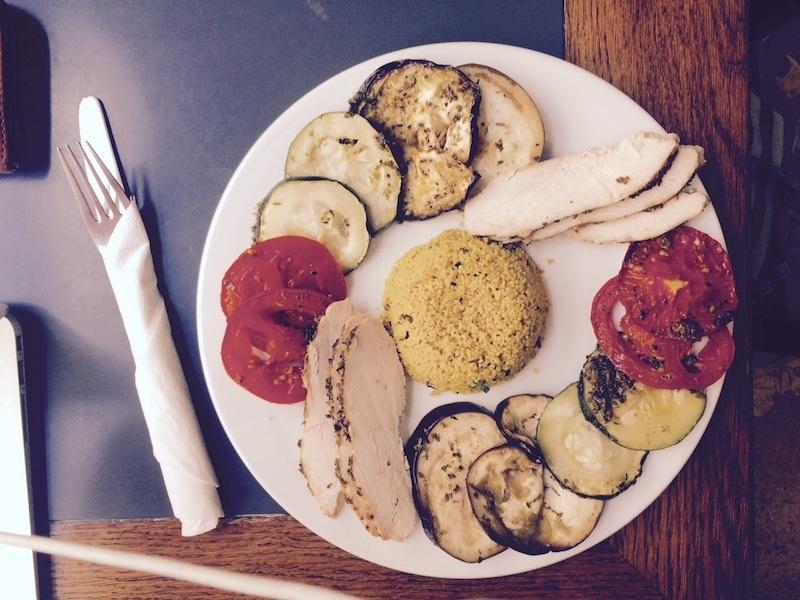 chicken salad at vertigo cafe in chiado, lisbon portugal
