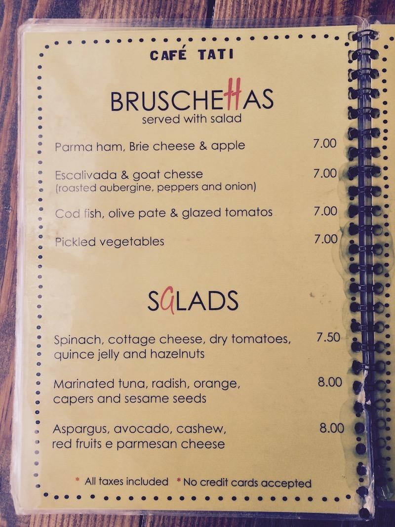 tati cafe lisbon portugal menu